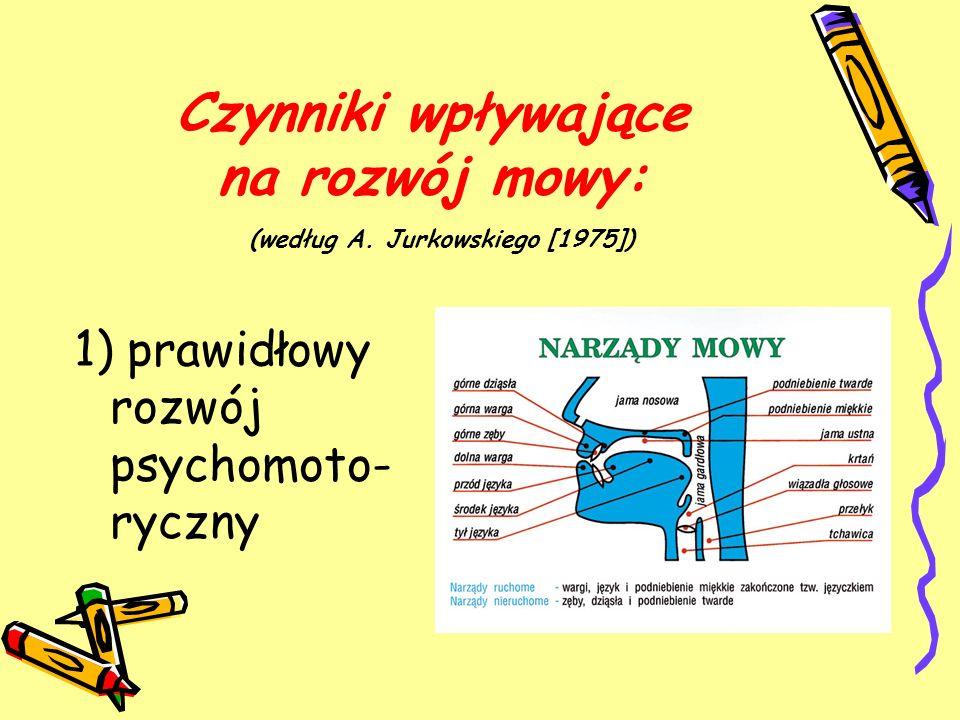 Czynniki wpływające na rozwój mowy: (według A. Jurkowskiego [1975])